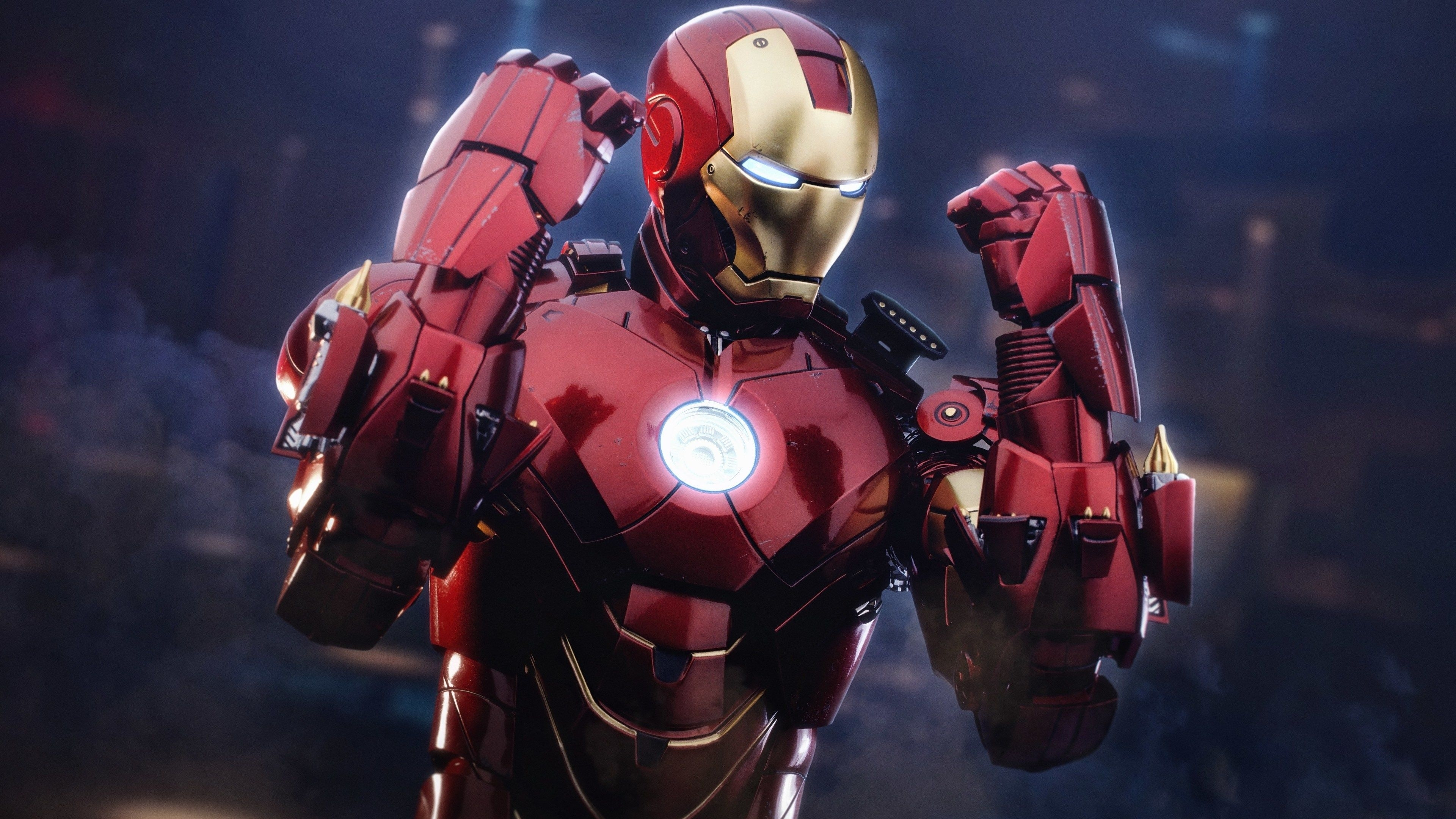 Iron man with gauntlet